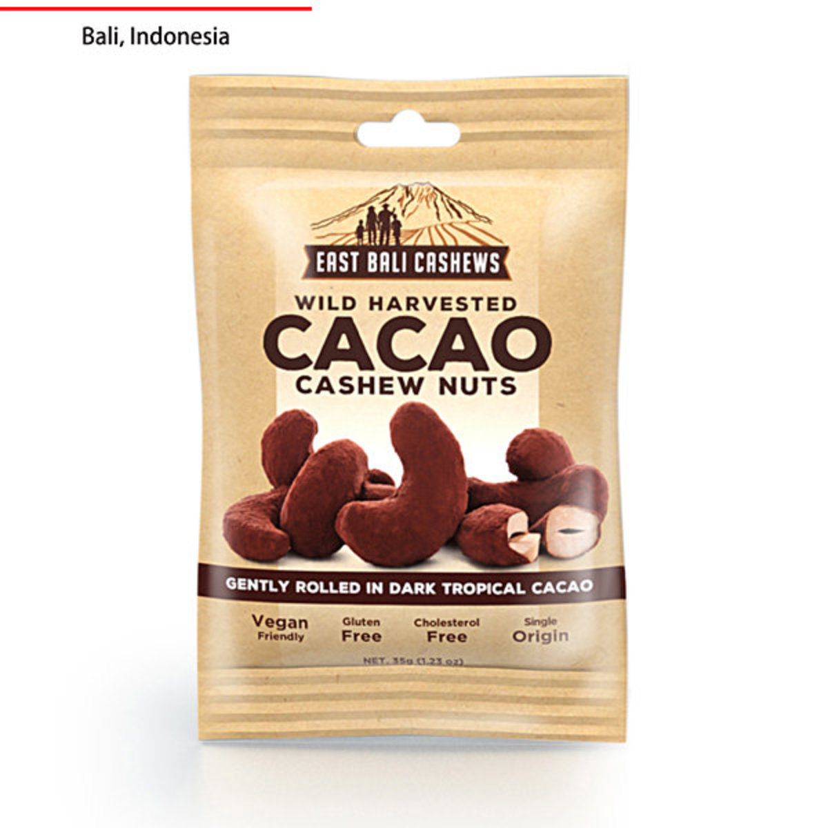 Gluten Free Wild Harvested Cacao Cashew Nut - With Dark Tropical Cacao - 35g - Preservative Free - Cholesterol Free - Vegan Friendly