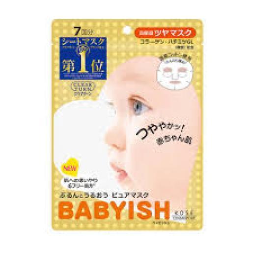 日本版 Kose - 日本 高絲 Kose Babyish Clear Turn 光映透 嬰兒肌緊緻彈力面膜 (金色) 1包 7片 (平行進口)