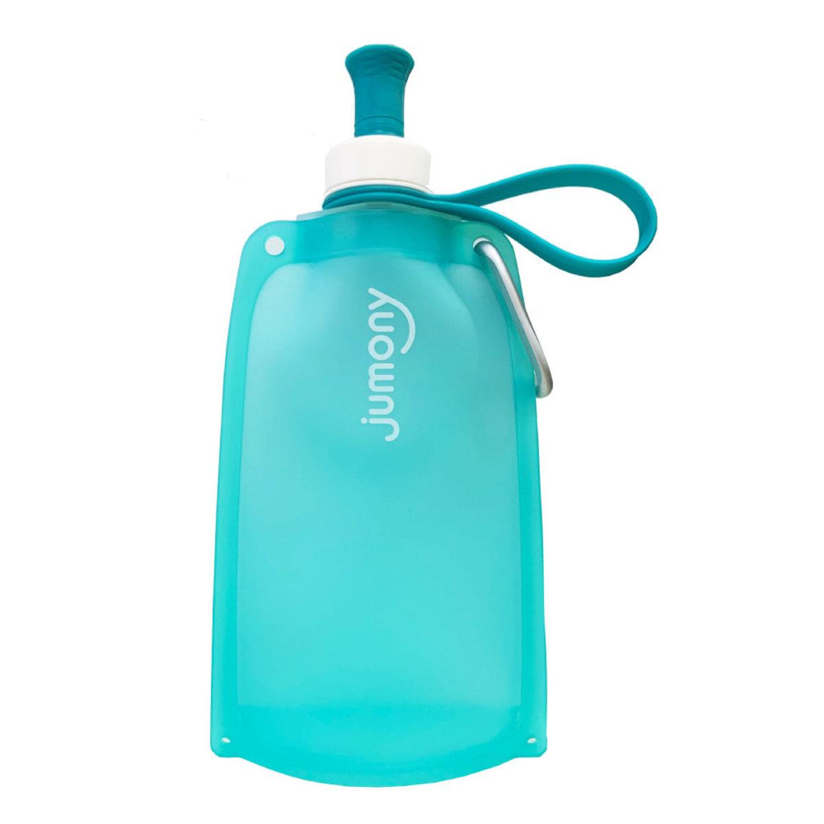 Jumony簡約便攜捲式矽膠水瓶 #薄荷藍 550ml [平行進口] (8809499754119)