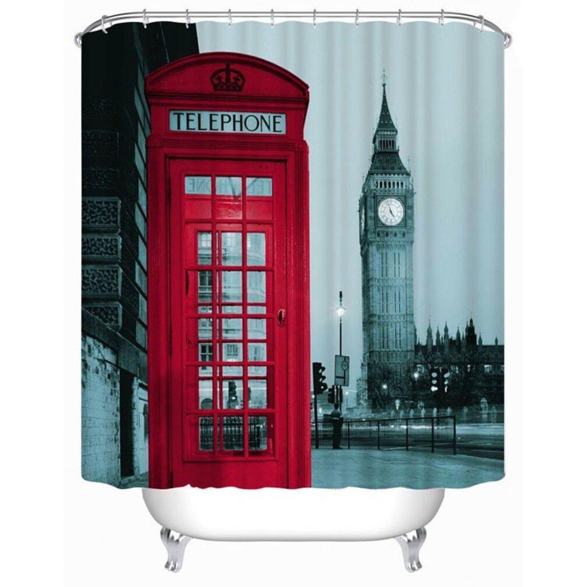 防水加厚印花浴簾, 倫敦電話亭大笨鐘