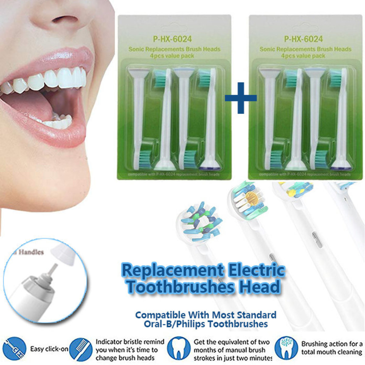 1+1 Replacement Electric Toothbrushes Head, HX-6064, 2 sets