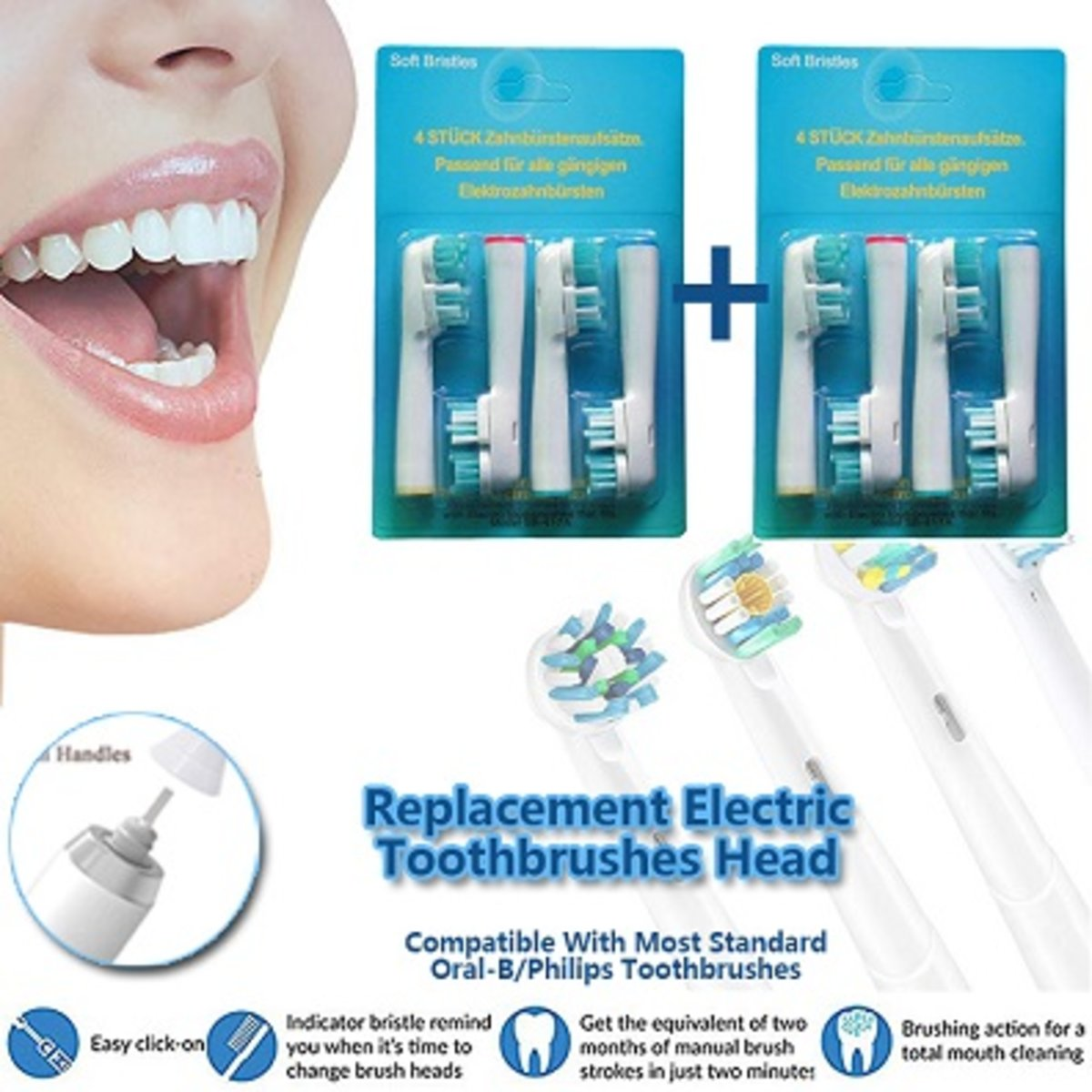 1+1 Replacement Eletric Toothbrushes Head, SB-417A, 2 sets