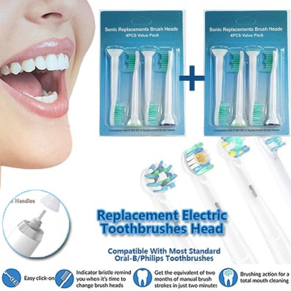 1+1 Replacement Eletric Toothbrushes Head, HX-6014, 2 sets
