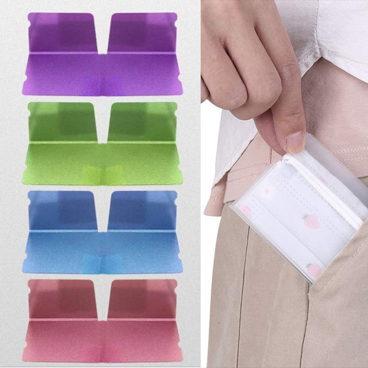 Mask organiser file case, multi color 5 pcs (This item NOT include mask)