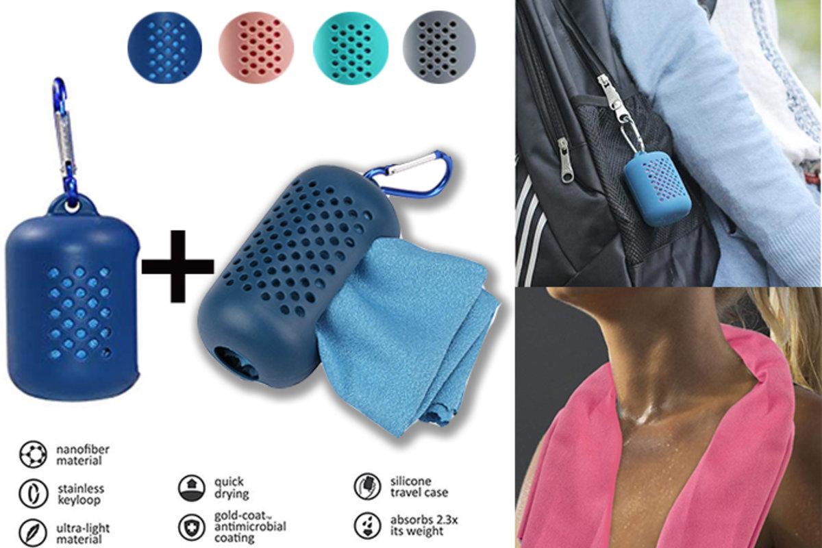 1+1 便攜式冷感纖維速乾毛巾, 方形 + 長形, 綠色