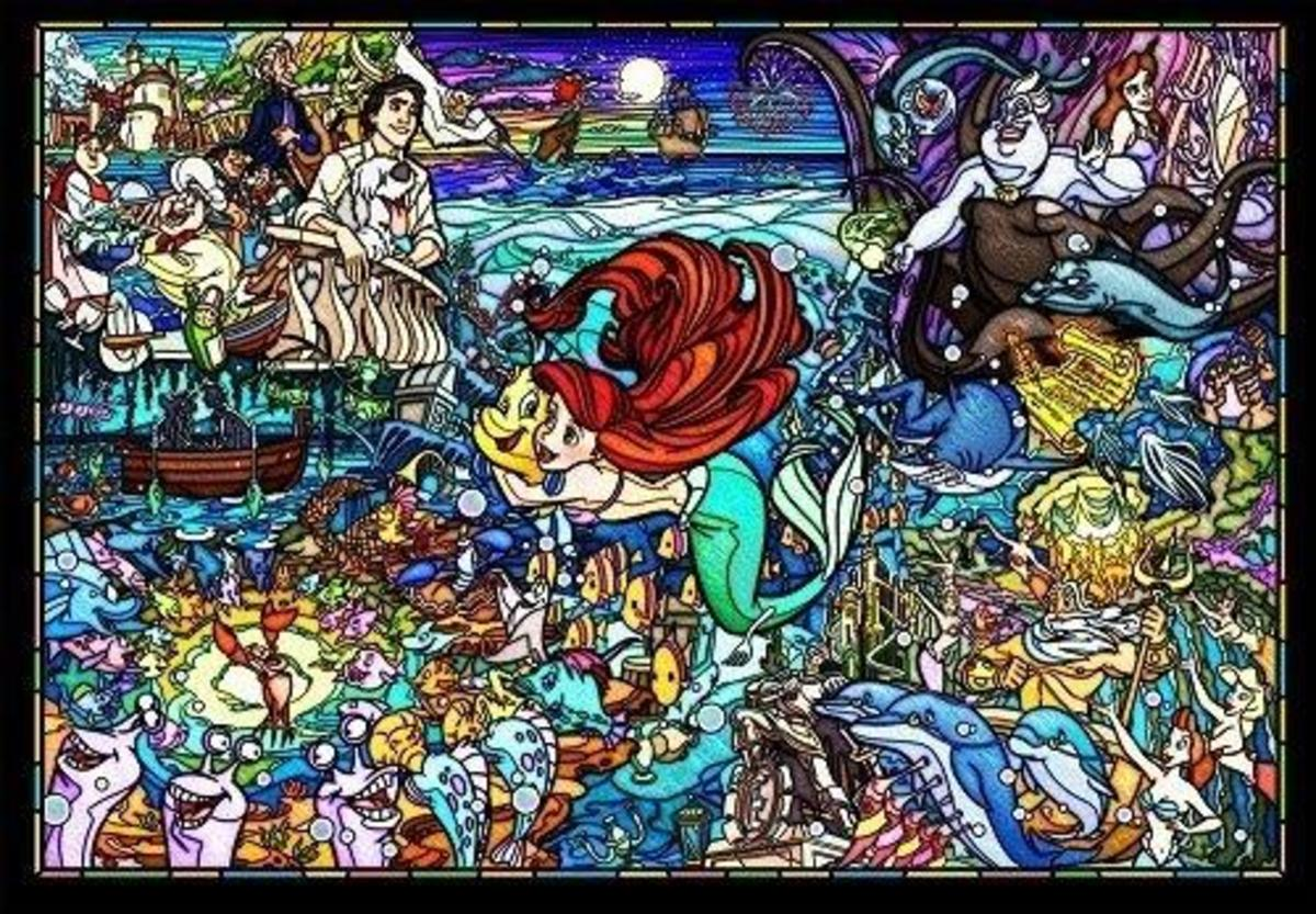 Tenyo - Little Mermaid Story Stained Glass 500pcs Puzzle [Licensed by Disney]