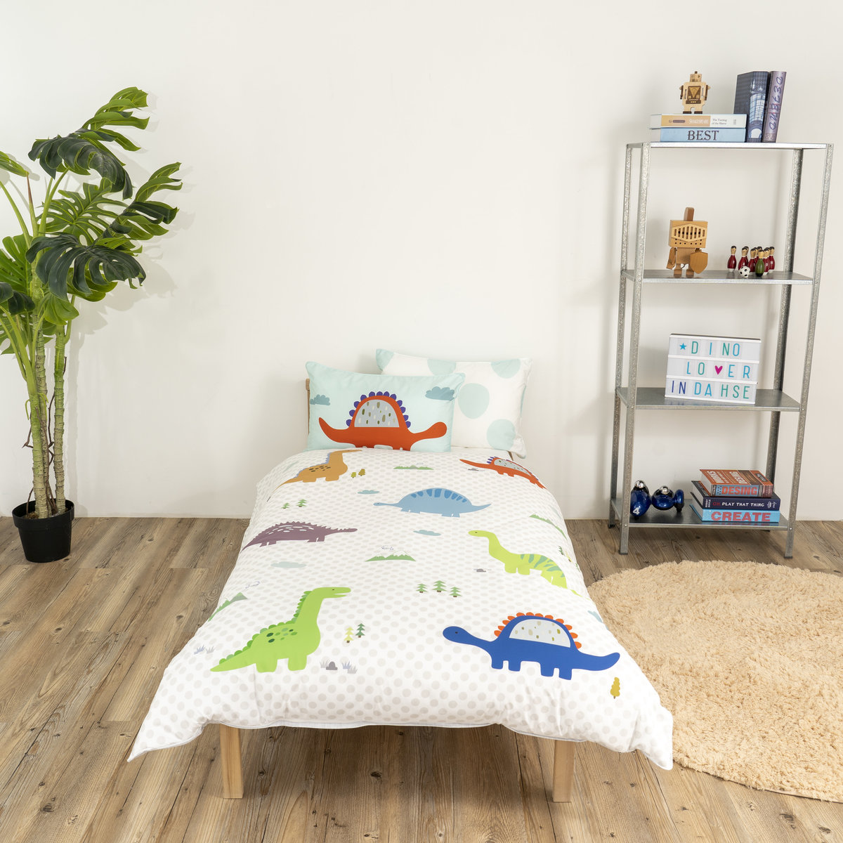 韓國製造摘夢園防塵蟎抗敏兒童床四季被套枕袋套裝 - 恐龍
