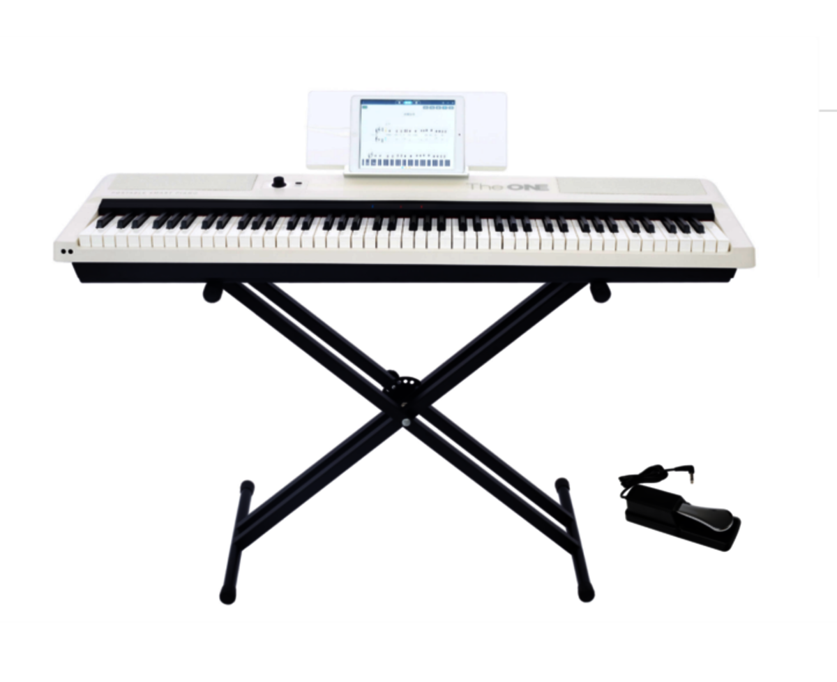 Smart Keyboard Pro TON1 (portable digital piano keyboard + X stand) - White