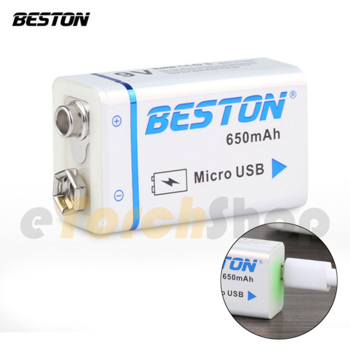 9V built-in USB rechargeable battery with battery case