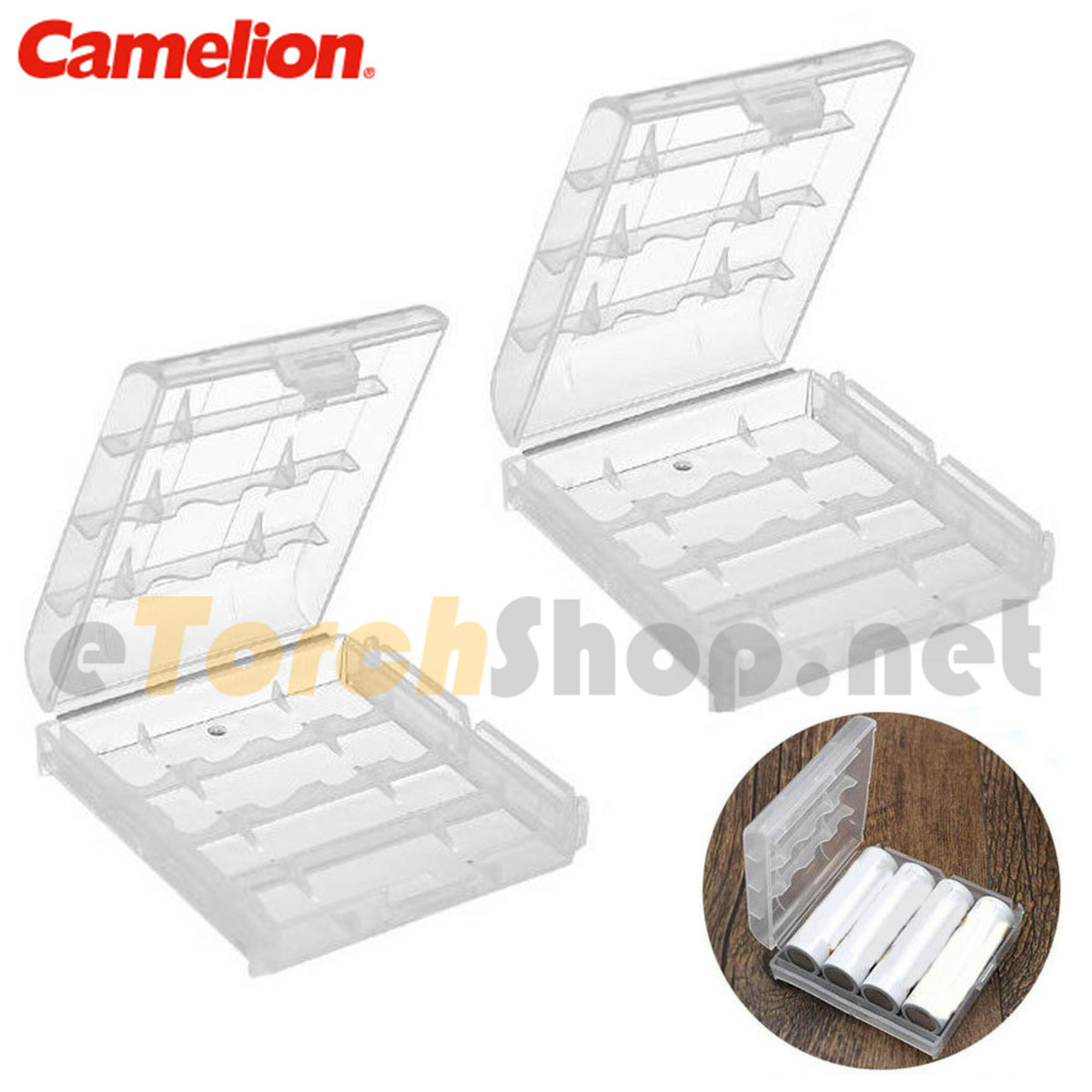 2x 4-cell AA aaa Plastic Carrying Case Holder