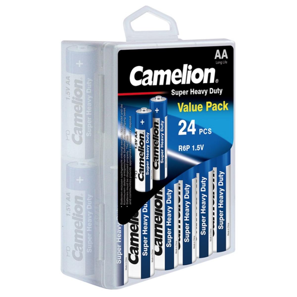 24x AA Economic Carbon Battery + Plastic Case Holder