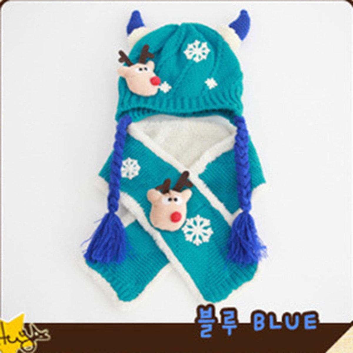 TUTUYA 兒童 保暖套裝 聖誕鹿 圍巾 加厚 針絨帽 6色 MZ2256