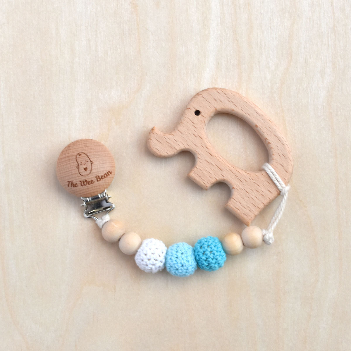 Elephant Organic Wood Teether + Pacifier Clip Set (Blue Color)