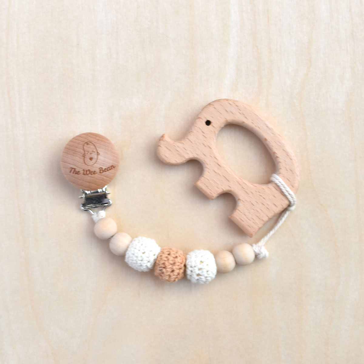 Elephant Organic Wood Teether + Pacifier Clip Set (Neutral Brown Color)