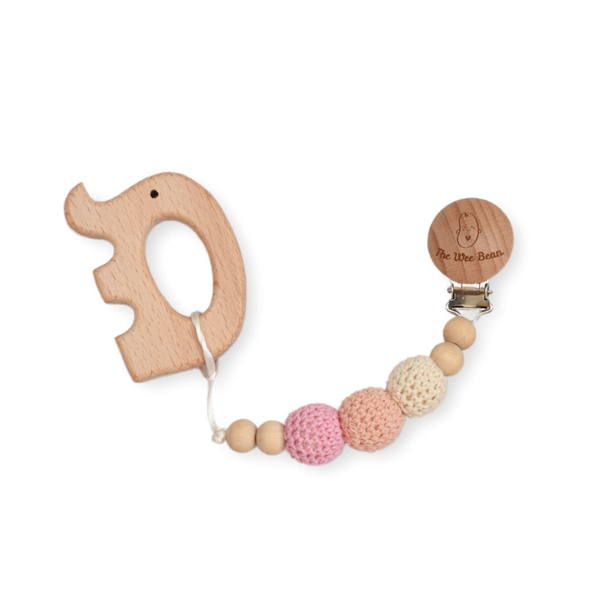 Elephant Organic Wood Teether + Pacifier Clip Set (Pink Color)