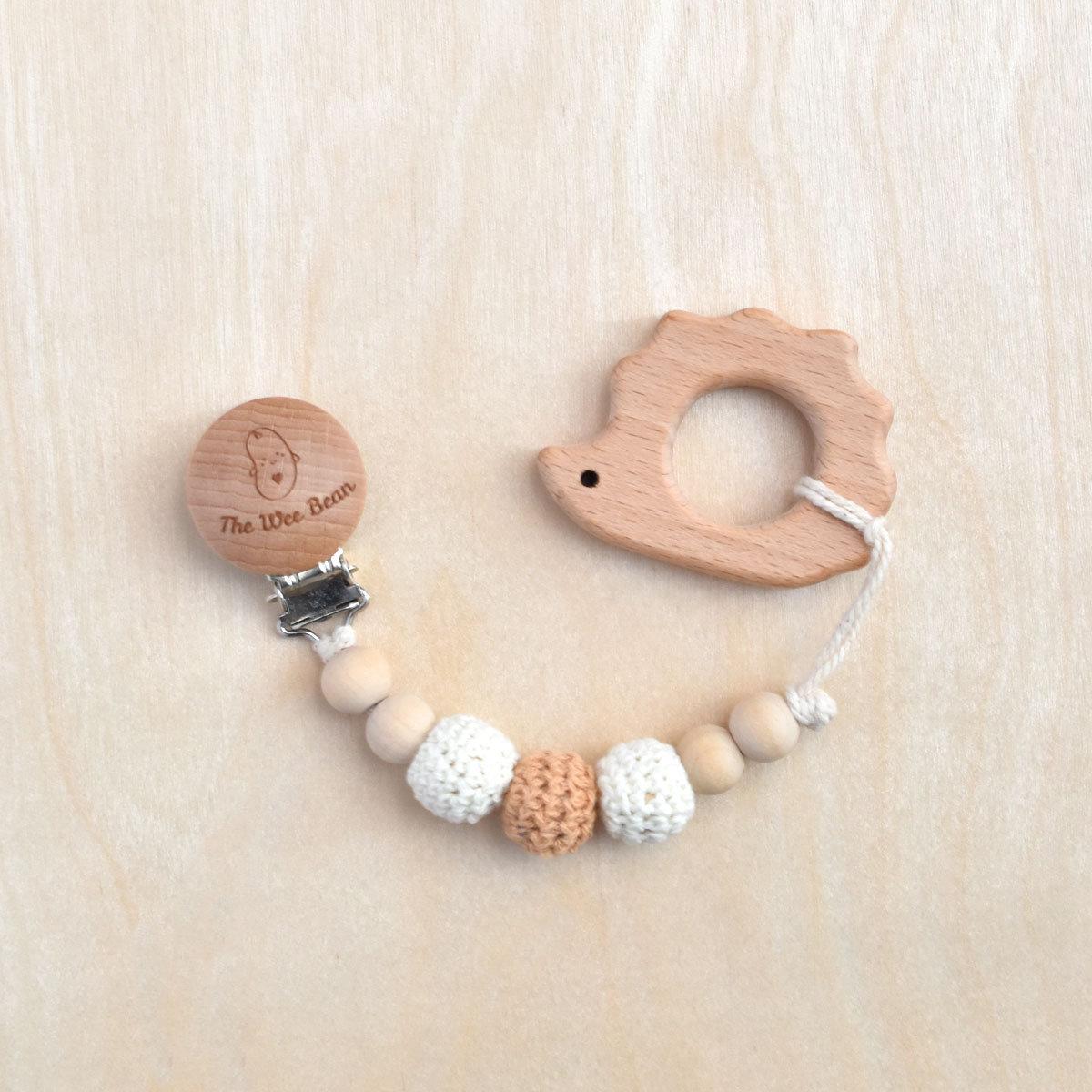 Hedgehog Organic Wood Teether + Pacifier Clip Set (Neutral Brown Color)
