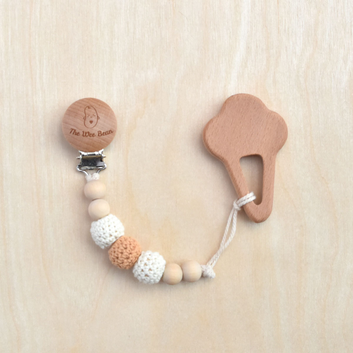 Ice Cream Organic Wood Teether + Pacifier Clip Set (Neutral Brown Color)