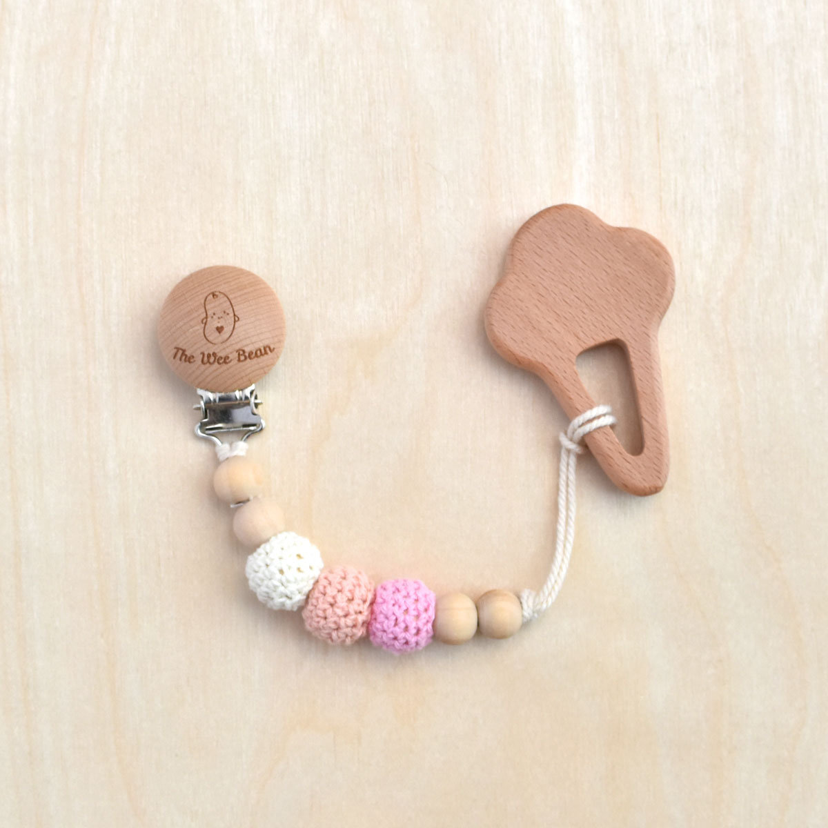 Ice Cream Organic Wood Teether + Pacifier Clip Set (Pink Color)