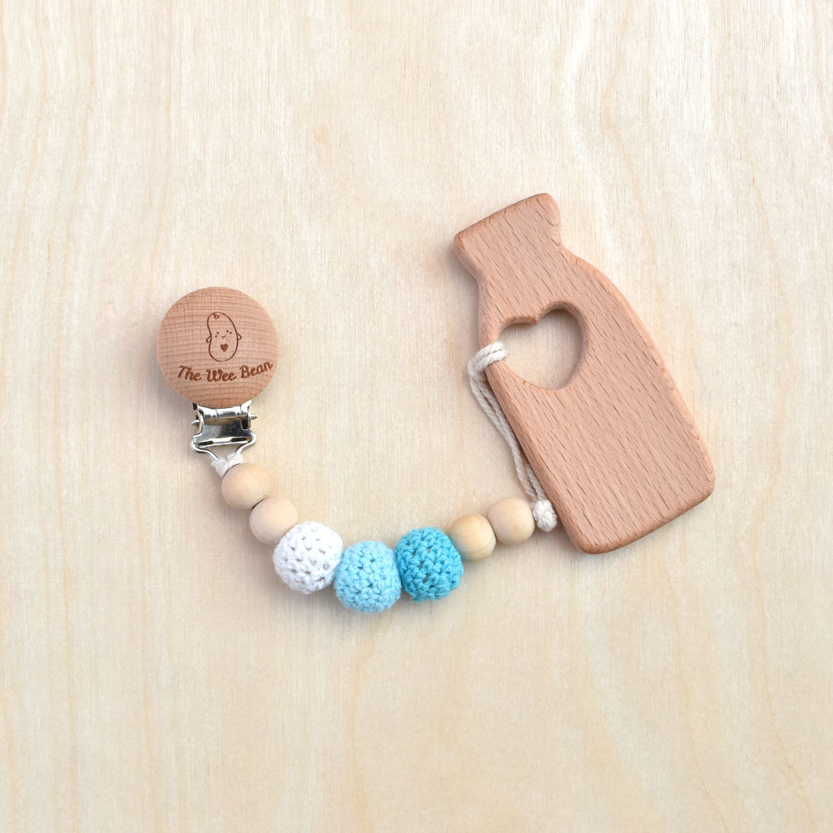 Milk Bottle Organic Wood Teether + Pacifier Clip Set (Blue Color)
