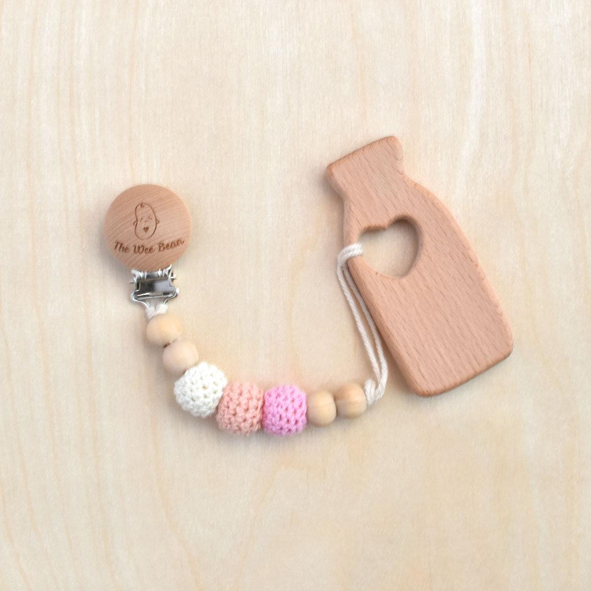 奶瓶木牙膠+奶嘴夾套裝(粉紅色)