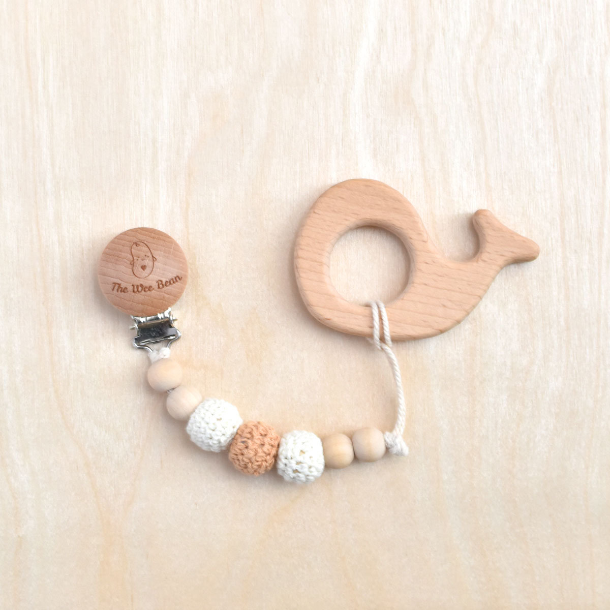 Whale Organic Wood Teether + Pacifier Clip Set (Neutral Brown Color)