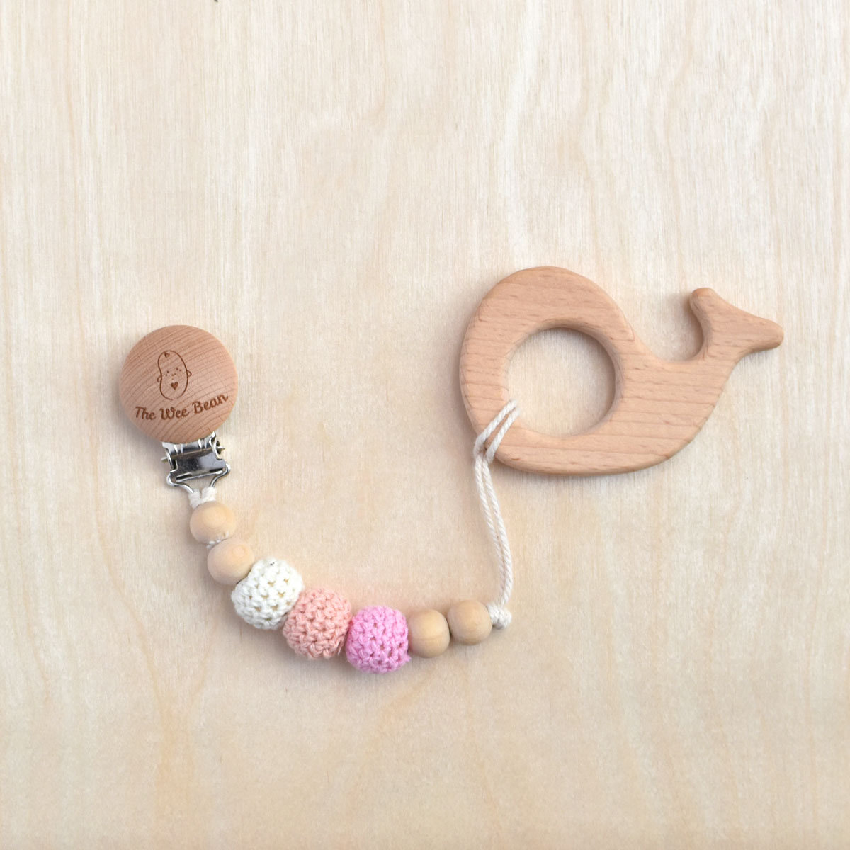 Whale Organic Wood Teether + Pacifier Clip Set (Pink Color)