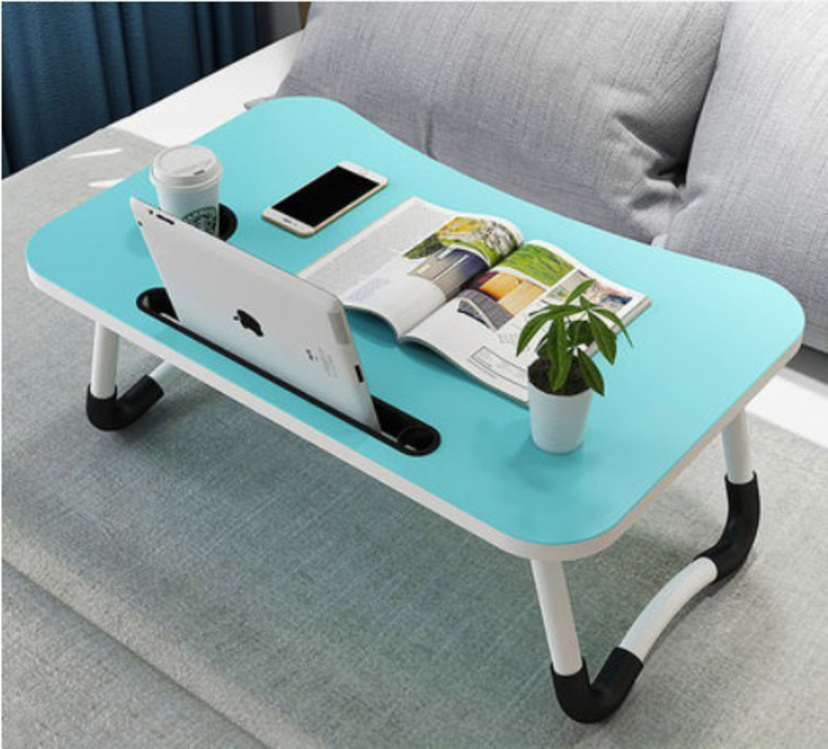 Mobile folding card slot computer table coffee table (With cup holder)- Blue (B2525)