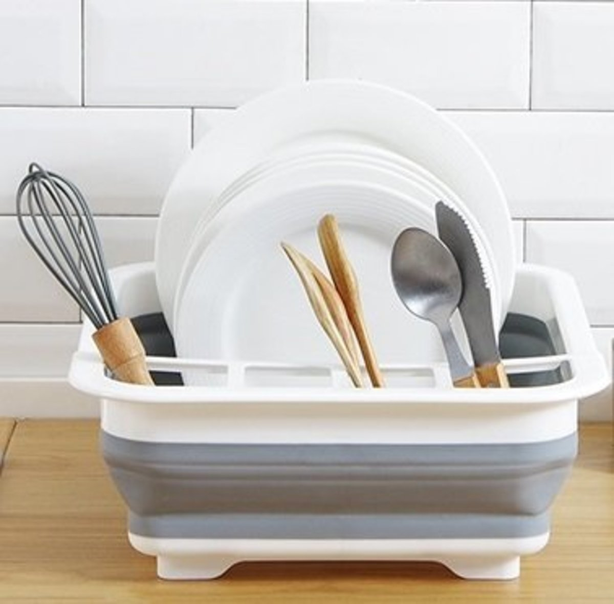 Folding drain storage two-in-one dish