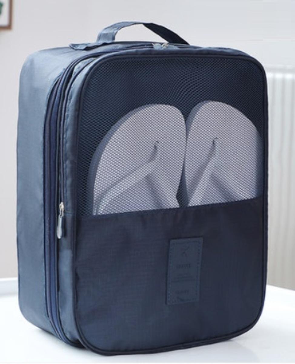旅行便攜收納鞋包 (深藍色)