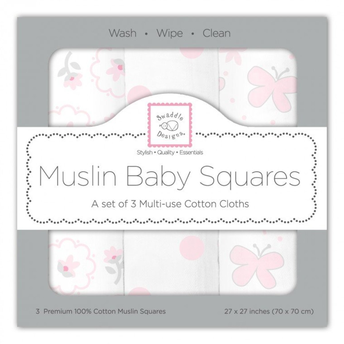 Butterfly Fun Muslin Squares in Pink Colours