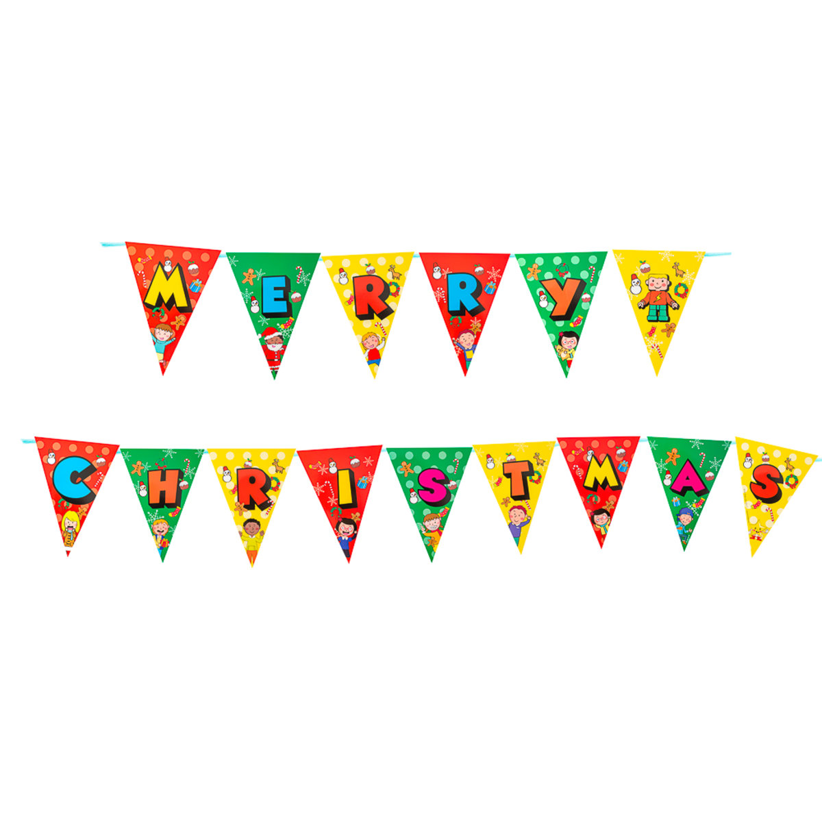 Christmas Party Decor Set Banner - Christmas Bunting (With a roll of ribbon)