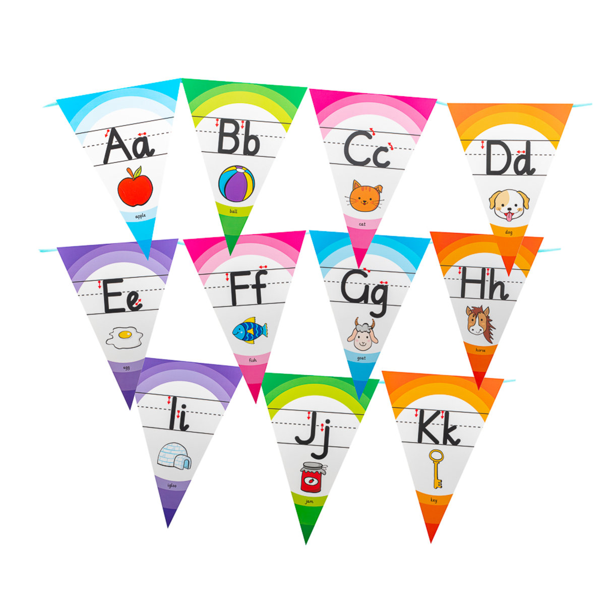 Decor Set Banner - ABC Learning, Alphabet Bunting (With a roll of ribbon)