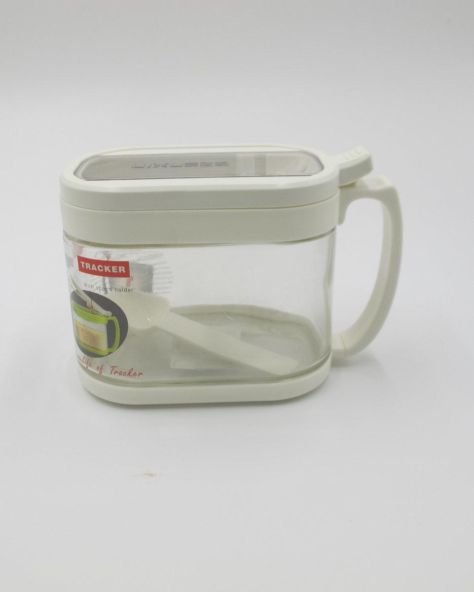 GLASS CONDIMENT CONTAINER-WHITE