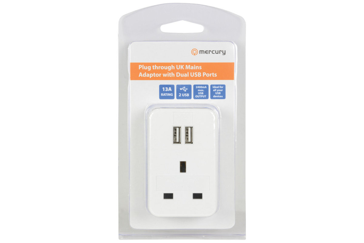 USB Plug Through Adaptor with 2 USB Ports 2.4A