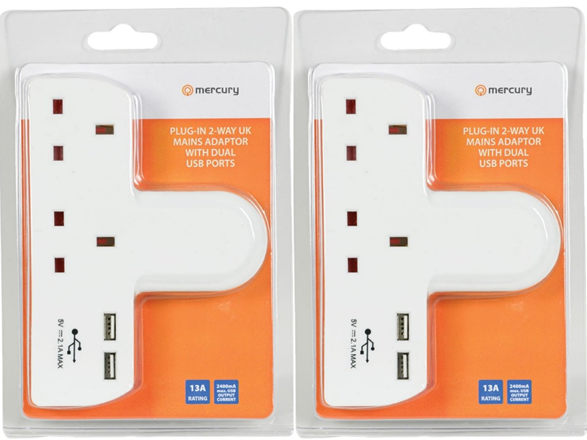 2 Way UK Mains Adaptor with 2 USB Ports 2.1A- 2 Pack