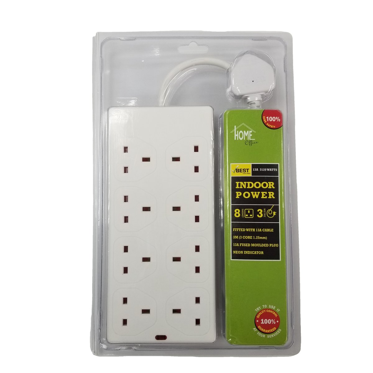 8 Gang Extension Socket with Neon - 3 Metre