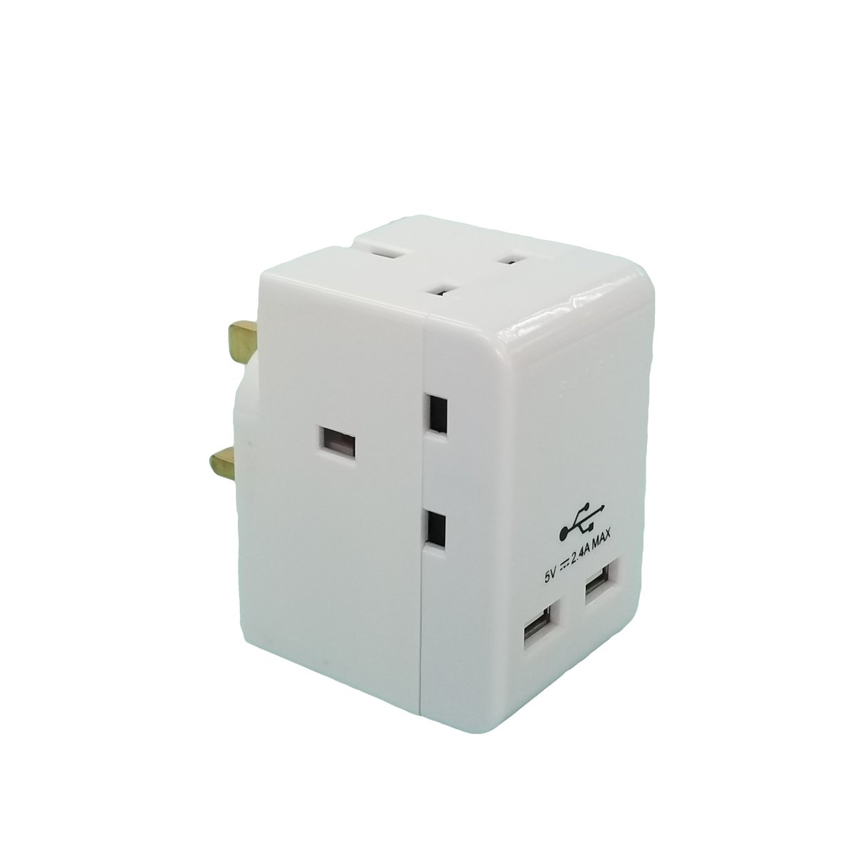 3 Way Adaptor with 2 USB Ports 2.4A