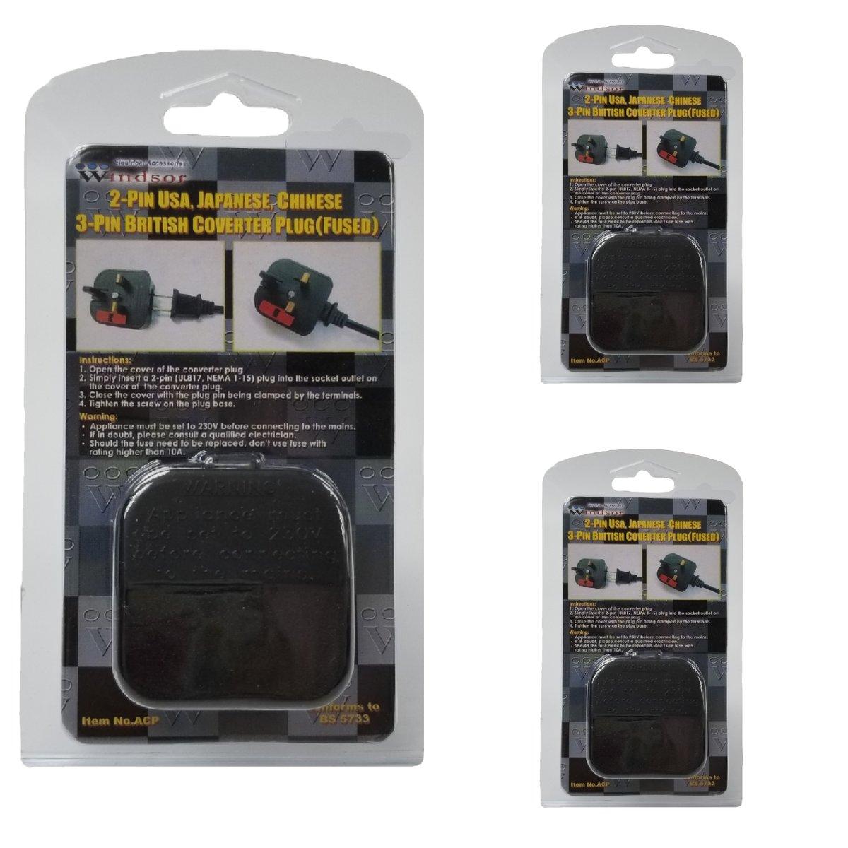 2-Pin USA, Japanese, Chinese to 3 Pin British Converter Plug - 3 Pack