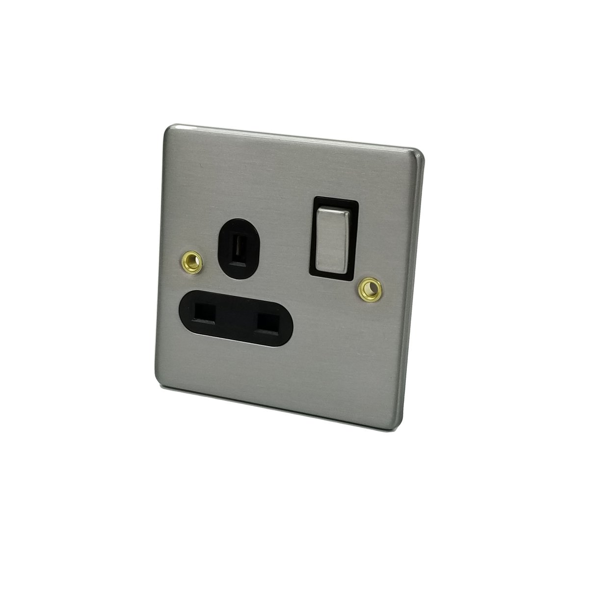 Metal Brushed Steel Plate - 1 Gang 13A DP Switched Socket