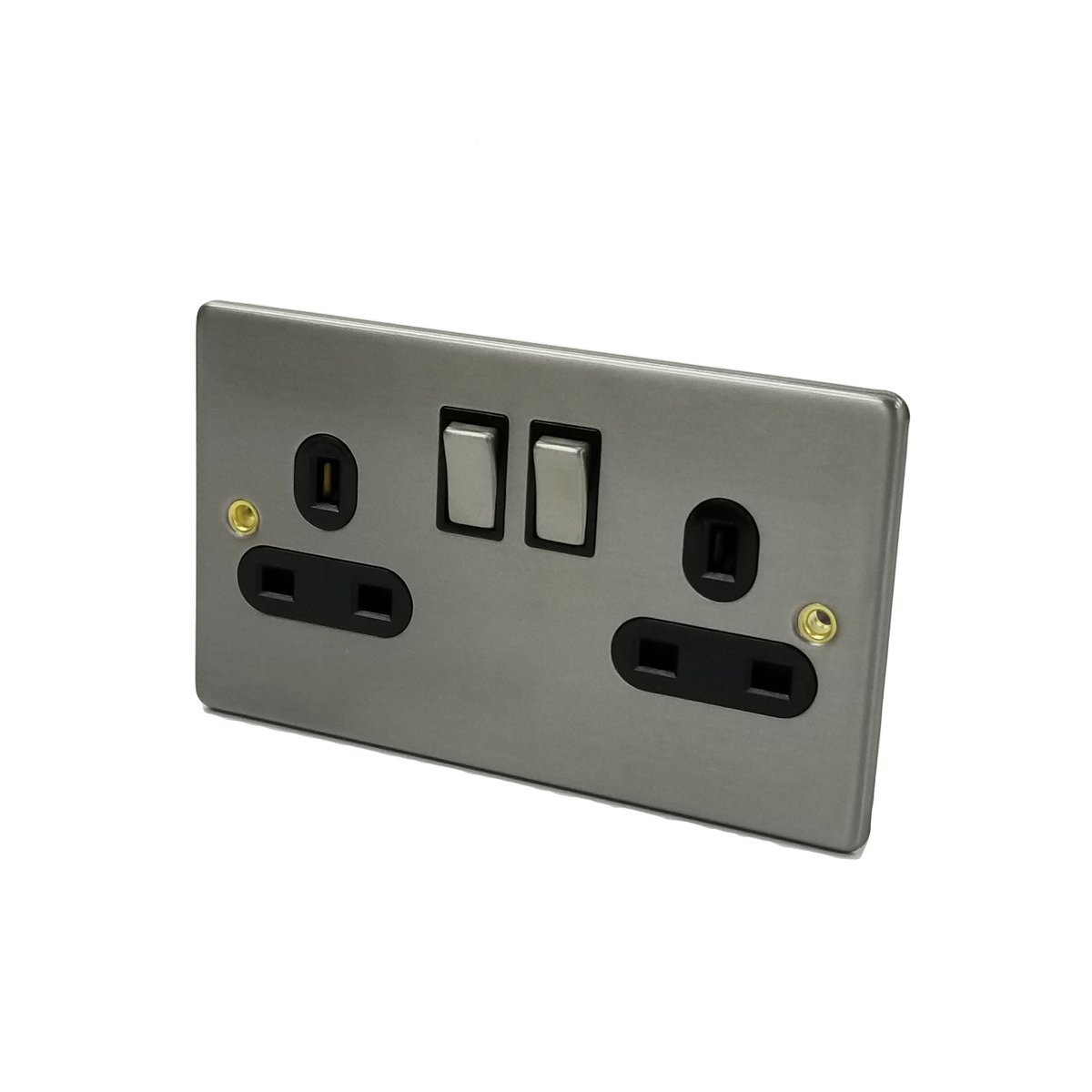 Metal Brushed Steel Plate - 2 Gang 13A DP Switched Socket