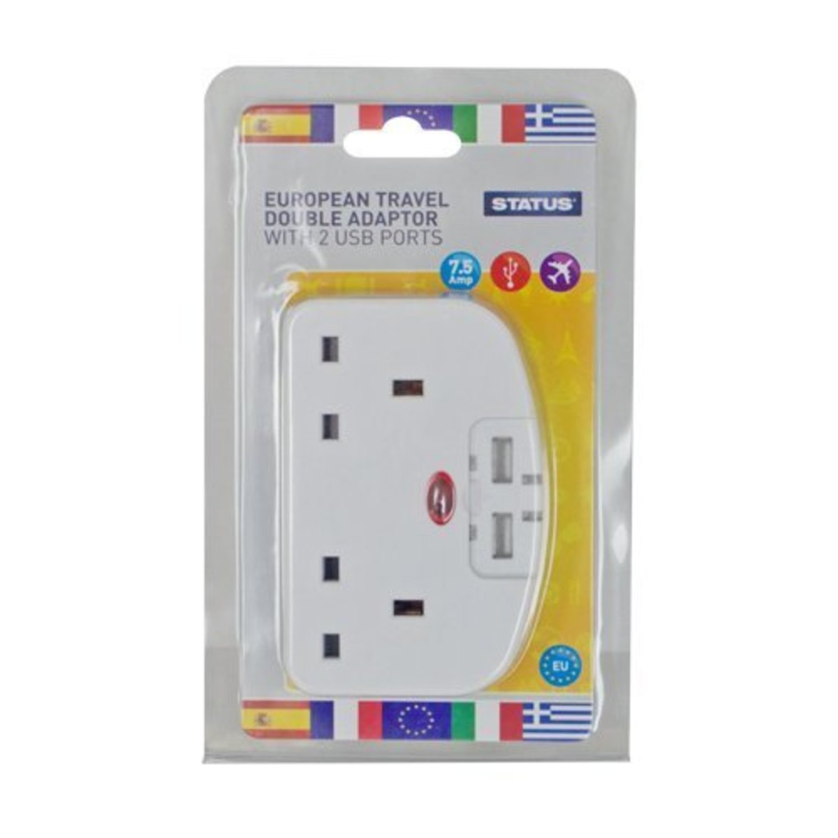 2 Way European Travel Adaptor with 2 USB Ports 2.1A Total