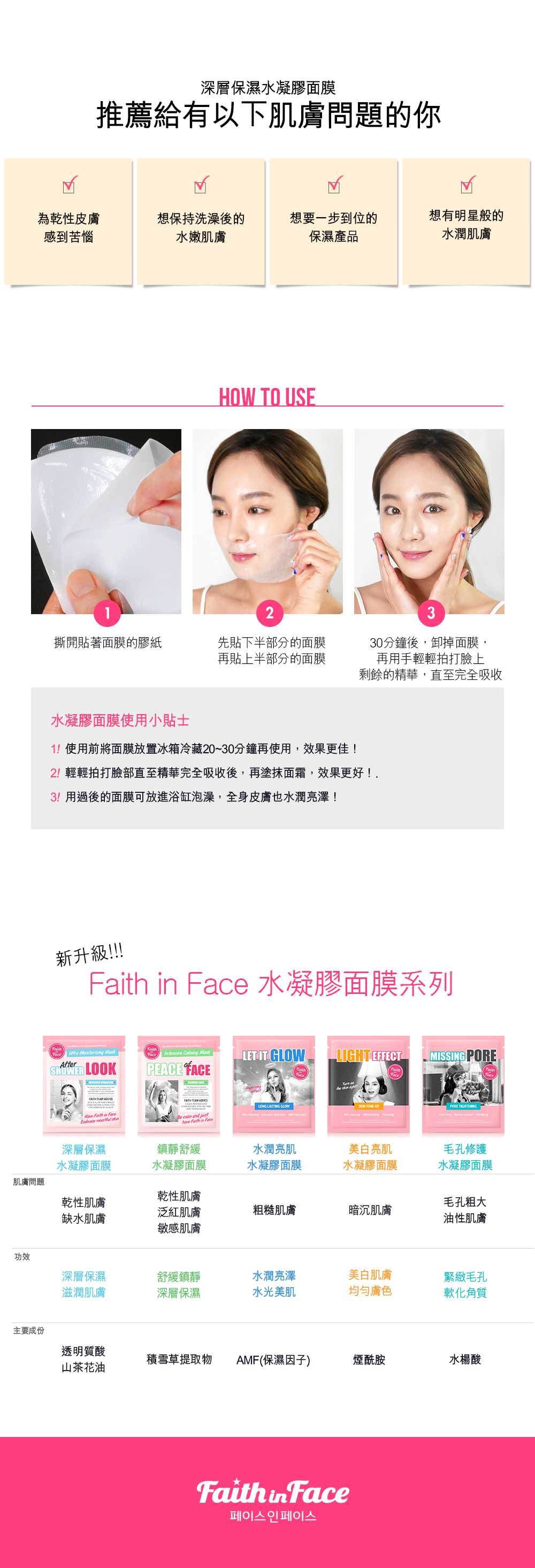 Faith in Face  After Shower Look 深層保濕水凝膠面膜 3片裝