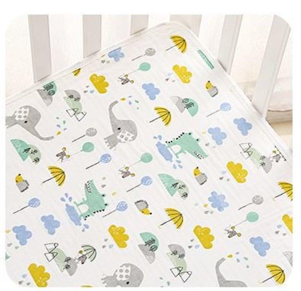 防水純棉透氣嬰兒隔尿床墊 規格: 70*90cm (大象鱷魚)
