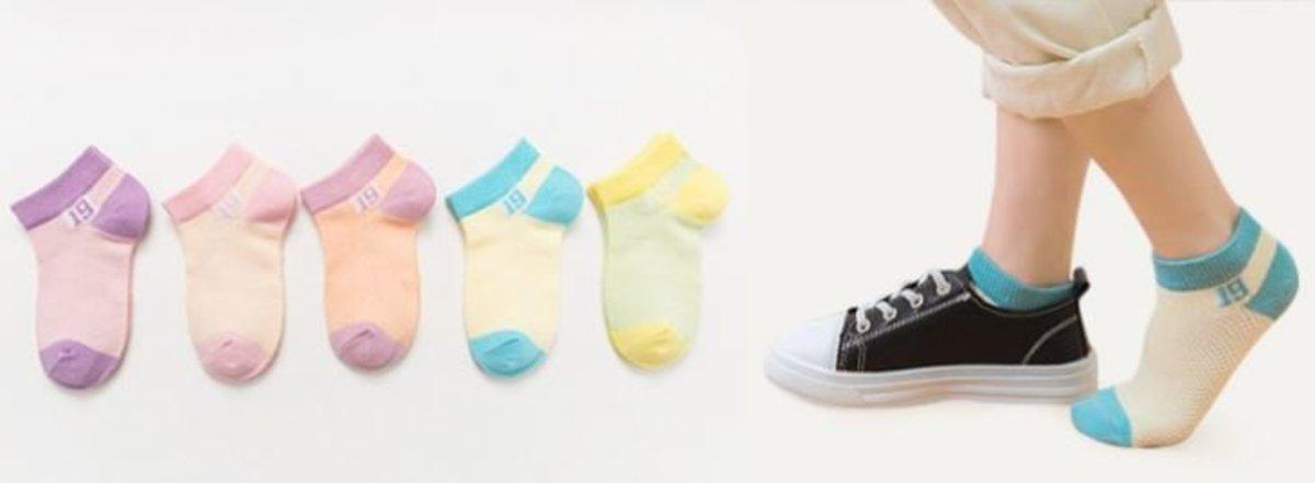 短筒網眼兒童襪子 -數字女童(五色混搭) 尺碼: L碼(6-8歲)