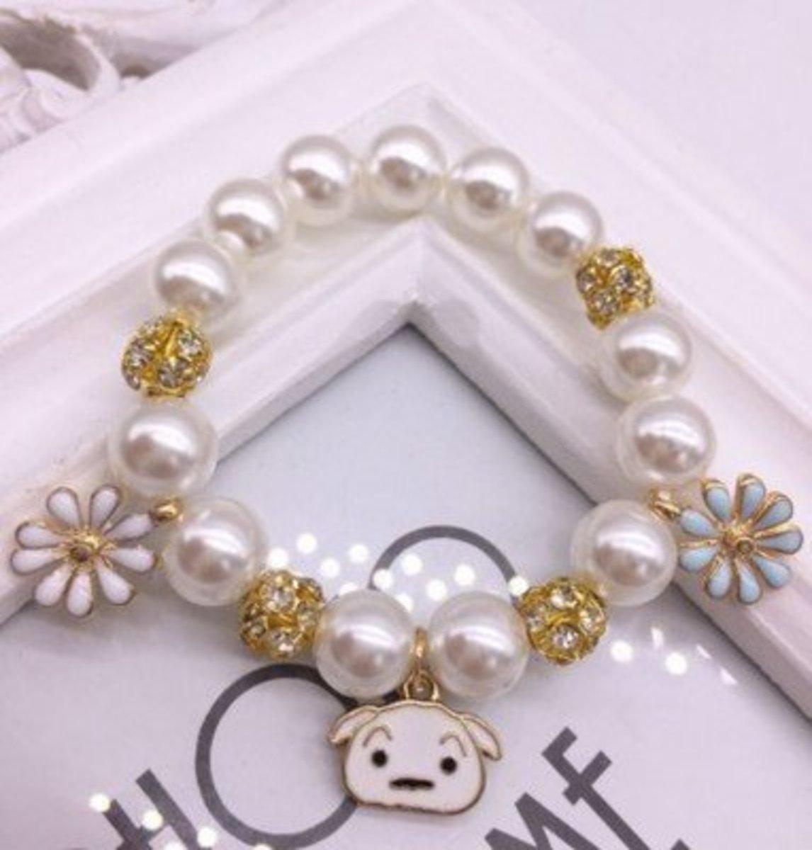 兒童珍珠手鏈 - 小白