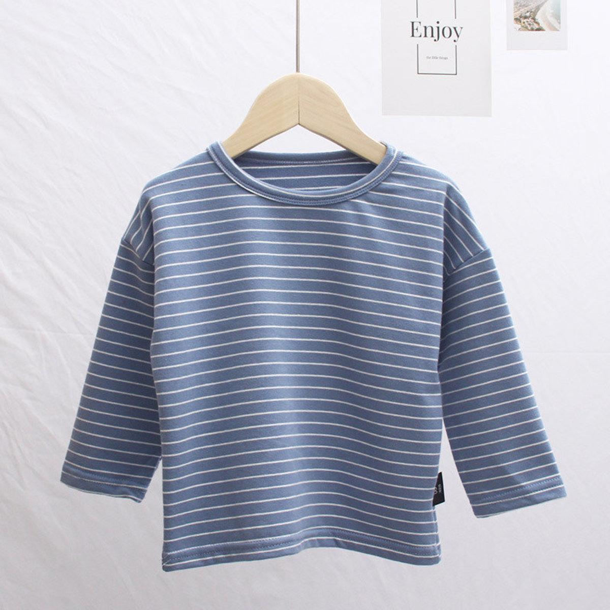 ❤熱賣產品❤ 純棉兒童間條居家衣 (藍色/白色)