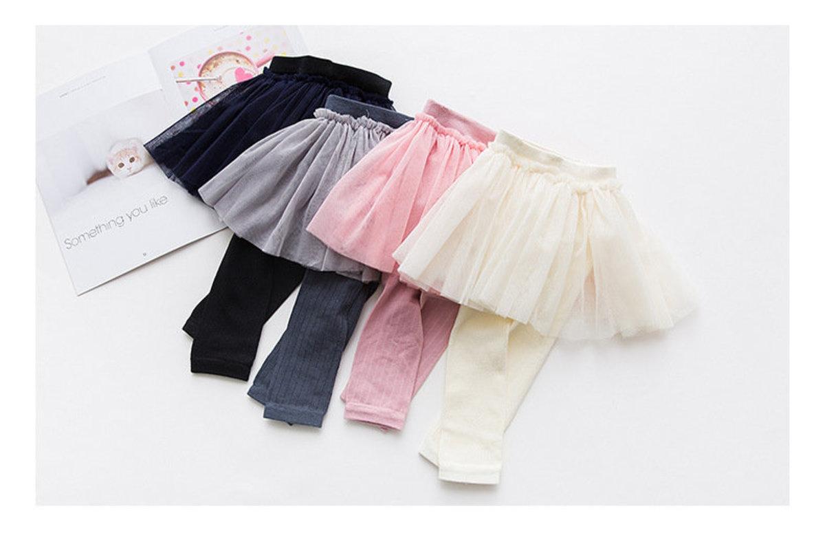 ❤熱賣產品❤童半截紗紗裙連打底長褲 - 黑色 (95CM)