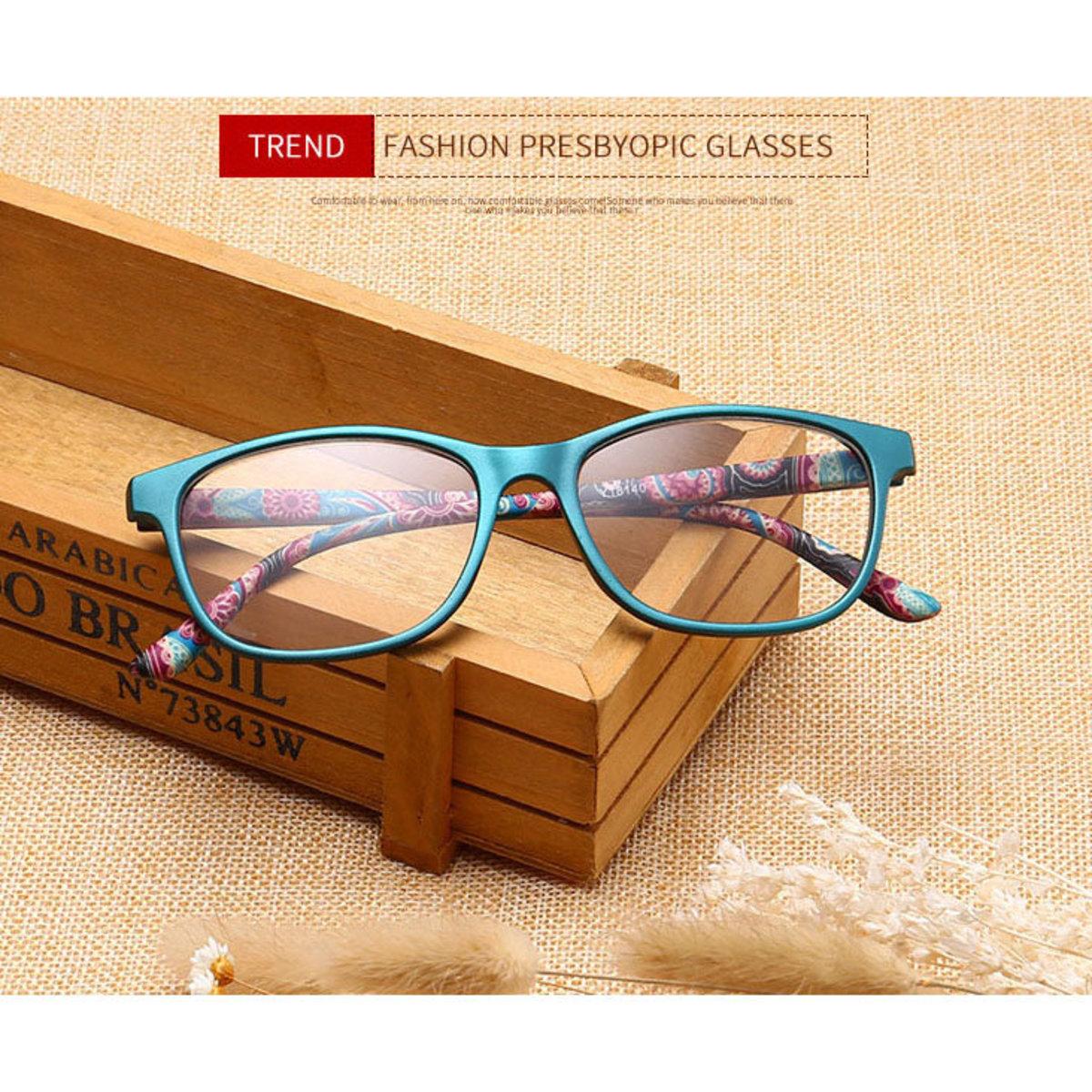 ❤新款復古❤時尚老花眼鏡-青色框 度數: +100