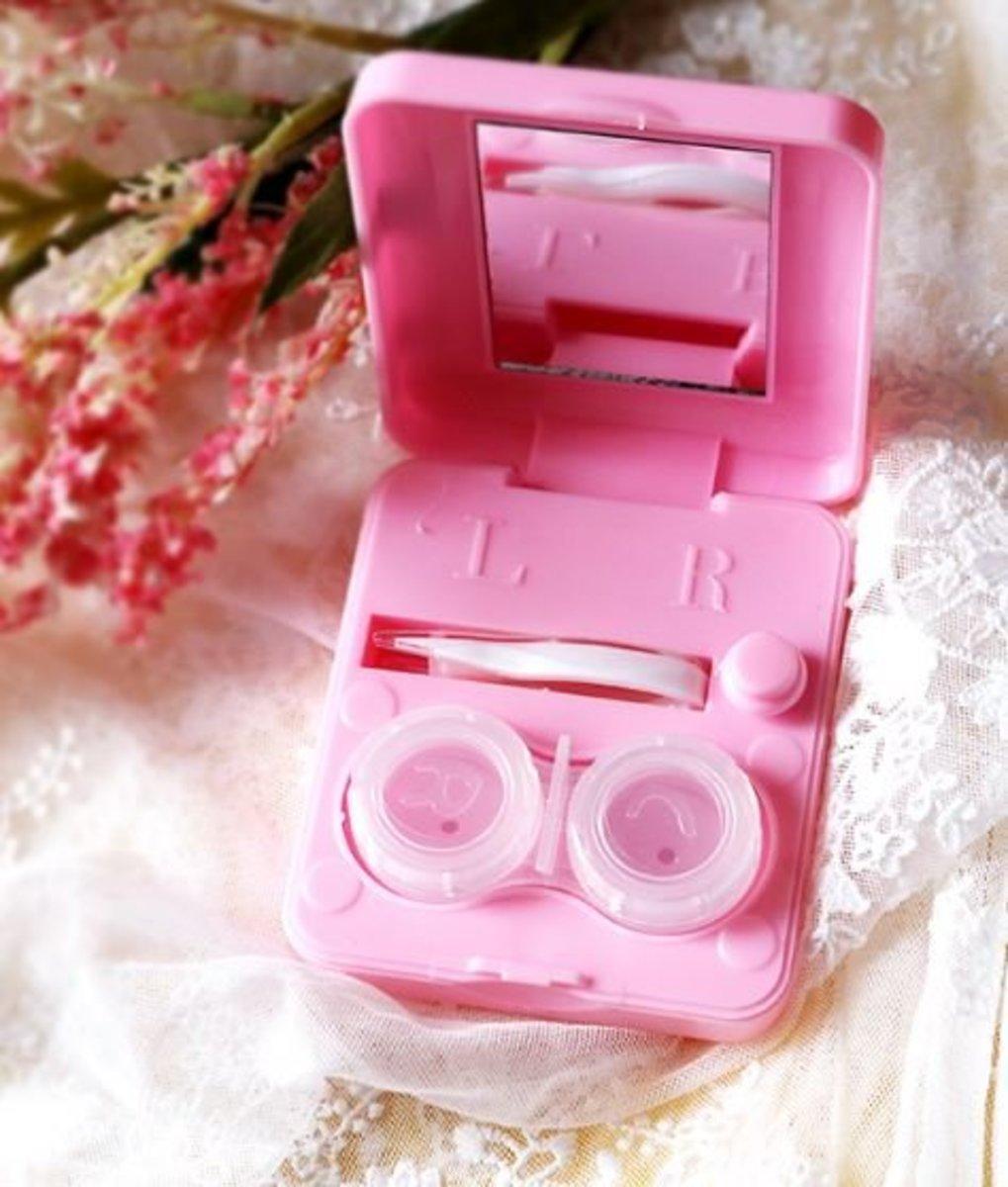 便攜式隱形眼鏡清洗器 (白色/粉紅色)