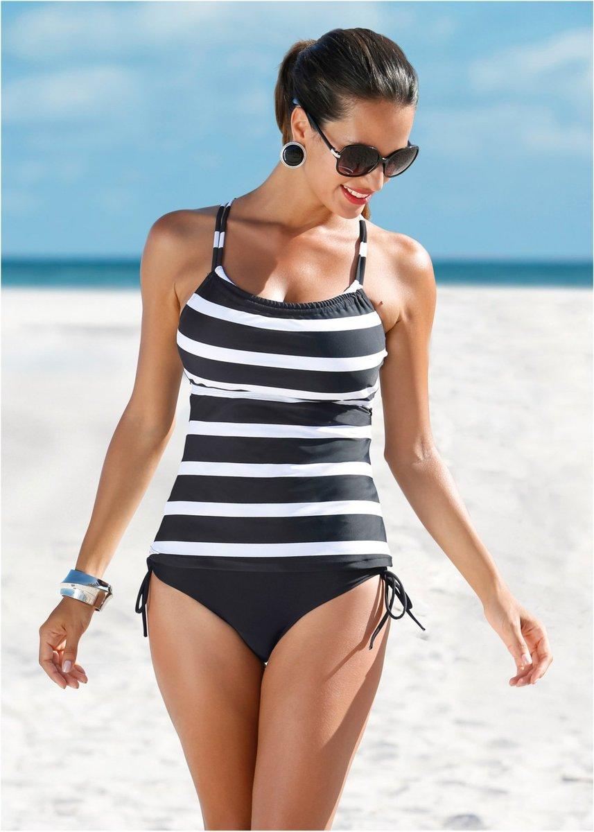 黑白間條泳衣配純黑泳褲套裝 尺碼: L